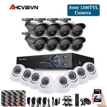 Thuis Cctv 16CH DVR Camera Video systeem 16 pcs Sony 1200TVL Outdoor Weerbestendig 3.6mm camera surveillance Kit 16 kanaal