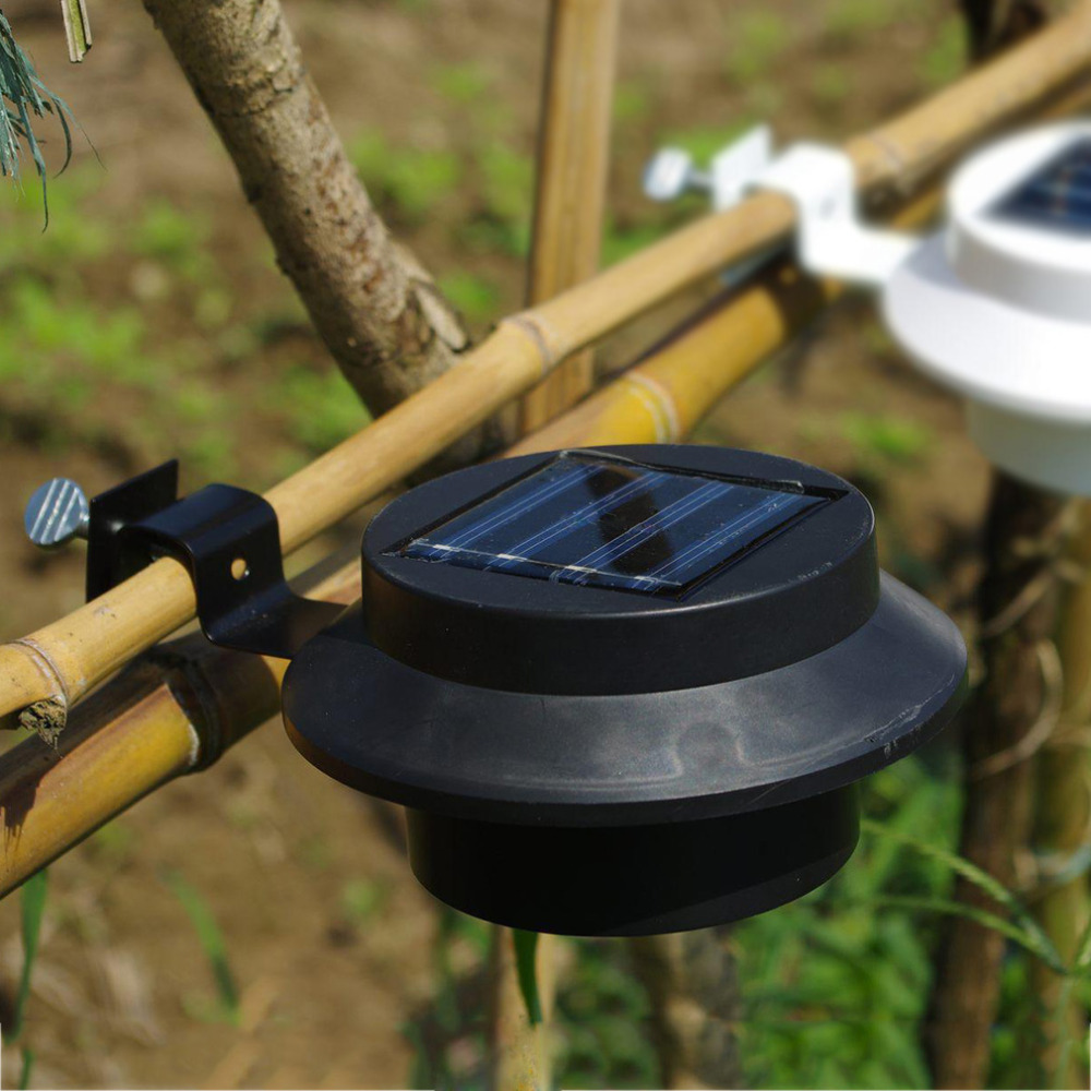 Outdoor Solar Powered lamp 3 LED Cool White/Warm clip ...