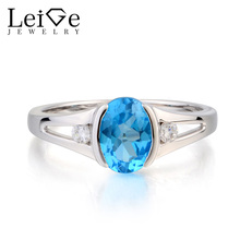 Leige Jewelry Swiss Blue Topaz Ring Engagement Ring Oval Cut Blue Gemstone November Birthstone 925 Sterling Silver Ring Gifts