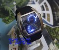Nice Xmas Gift Blue LED Light Dot Matrix Mens Watch diving freeship