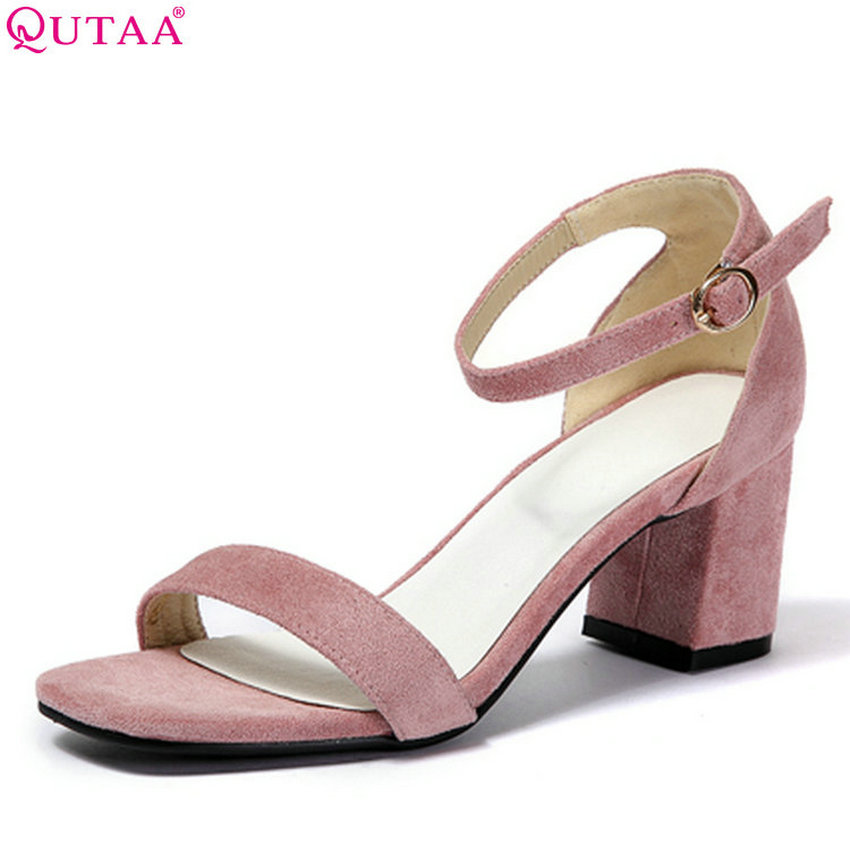 QUTAA 2018 Women Pumps Square High Heel Flock Fashion Women Shoes Platform Buckle Square Toe All Match Women Pumps Size 34-43 xiaying smile summer new woman sandals platform women pumps buckle strap high square heel fashion casual flock lady women shoes page 6