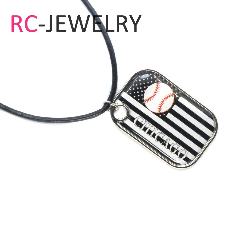Baseball Chicago White Sox Glass Pendant Necklace With 50cm Chain For Women Sports Necklace Jewelry