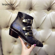 Shoes - Womens Shoes - Fashion Luxury Brand Shoes Woman Buckle Strap Rivet Studs Leather/Velvet Ankle Boots Women Spiked Chunky Heels Motorcycle Boots