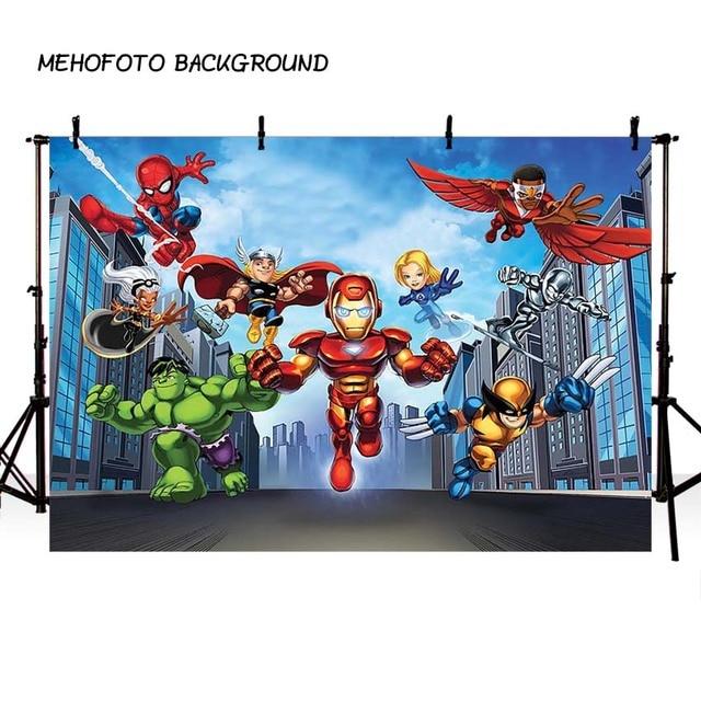 Superhero Spinderman Iron Man Comics Movie Characters Photography Backdground Avengers Children Prop Studio Backdrop Background