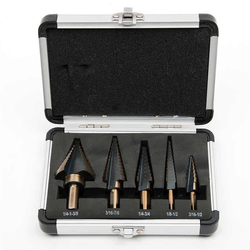 Universal 5pcs Large Hardened HSS Inch Stepped Drill Bits Set For Metal High Speed Steel Tapered Cone Drill Bits Kit Hole Cutter 3pcs lot hss steel large step cone titanium coated metal drill bit cut tool set hole cutter 4 12 20 32mm wholesale