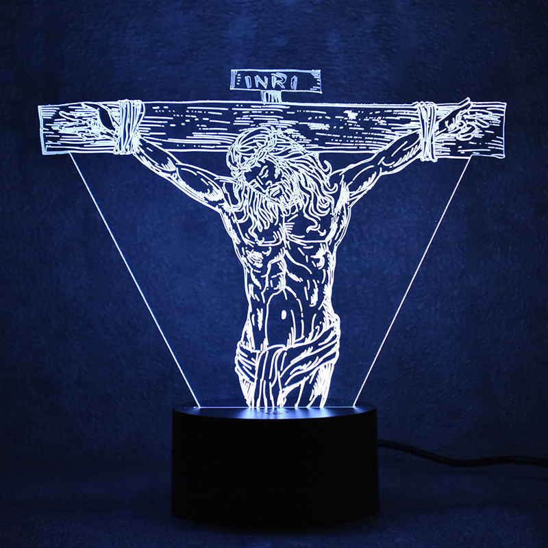 Cross Jesus Lamp 3D LED Colorful Table Lamp Creative USB Luminaria Lampara Night Light Նորությունների նվեր երեխաների համար Քնած գիշերային լույս