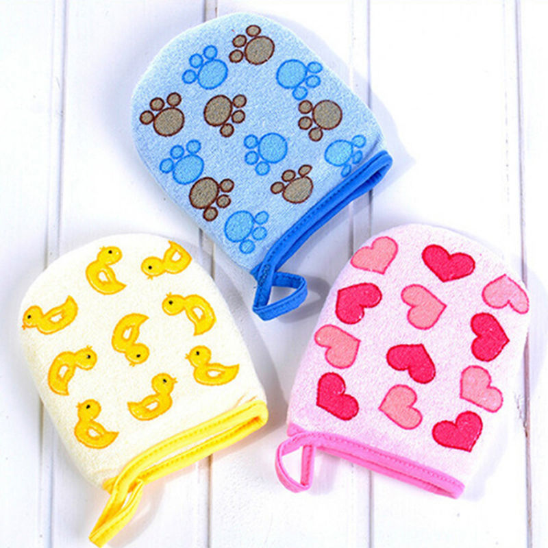 1PC Baby Kid Infant Cartoon Soft Bathing Bathroom Mitt Glove Foam Rub Shower Sponge Exfoliating Wash Cloth Towel 3 Colors