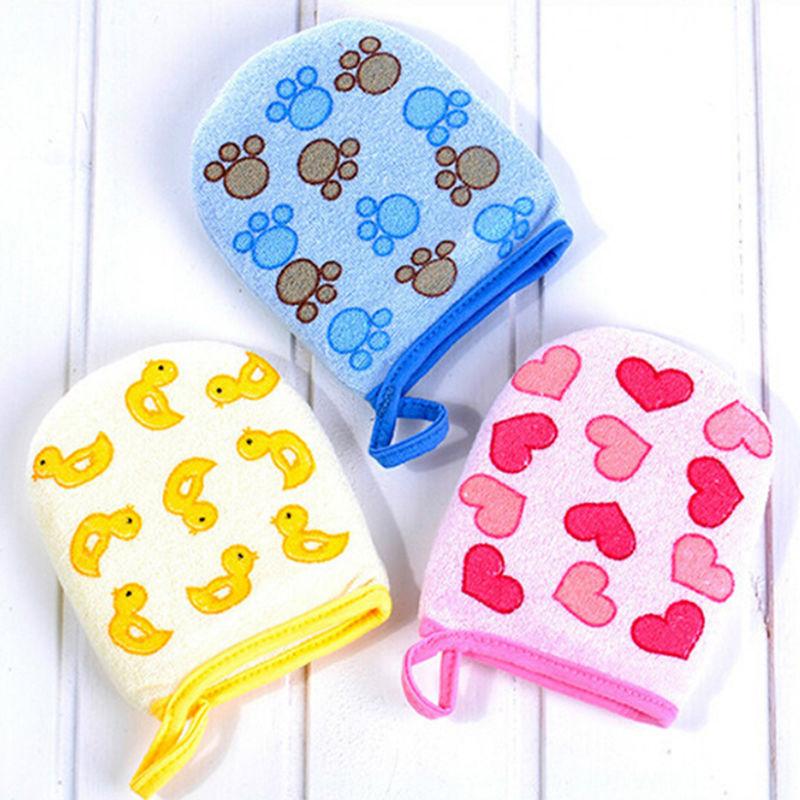 1PC Baby Kid Infant Cartoon Soft Bathing Bathroom Mitt Glove Foam Rub Shower Sponge Exfoliating Wash Cloth Towel 3 Colors