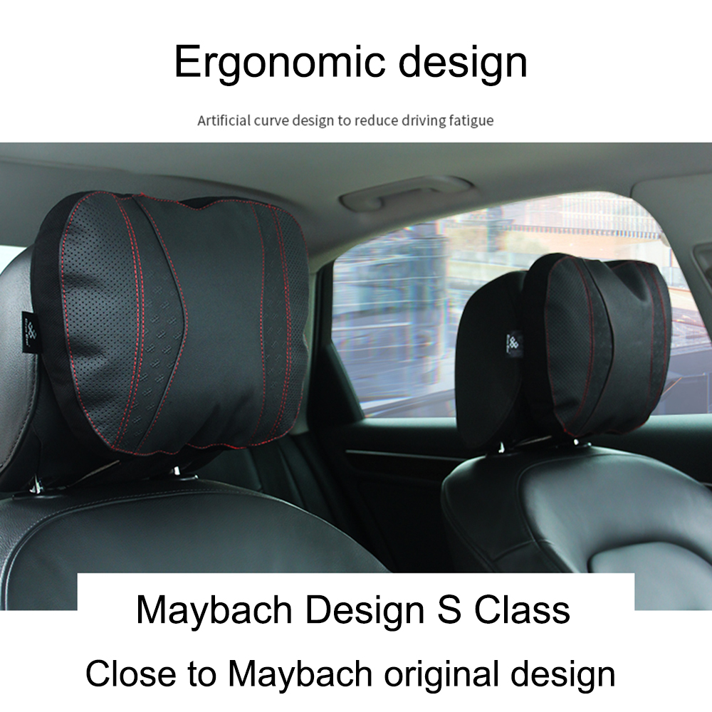cheapest JINSERTA Maybach S Class Car Headrest pillow for head Leather Comfortable Soft Cushion Cover Adjustable Car Pillow for Universal