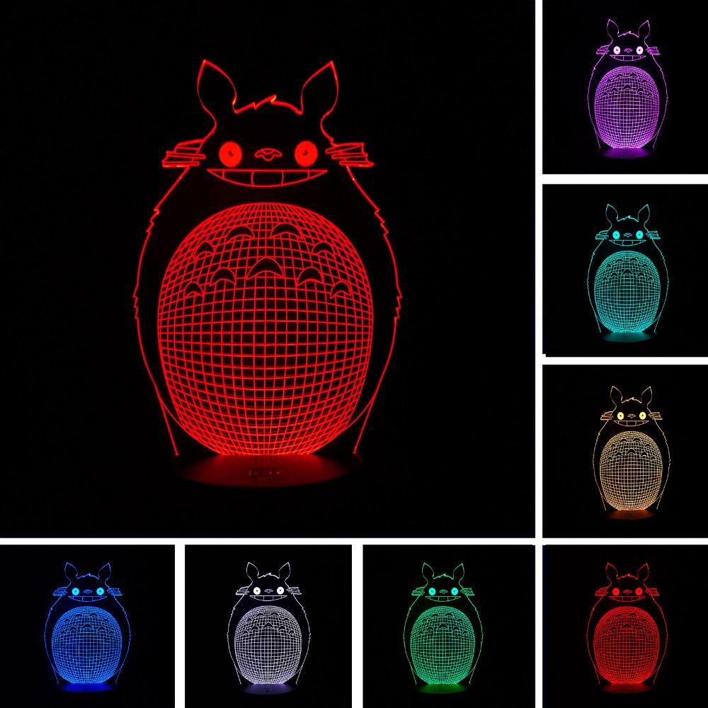 2018 Lovely Cartoon Totoro 3D Optical Illusion Night Light Child Baby Sleeping Lamp Best Friends Family Birthday Holiday Gift