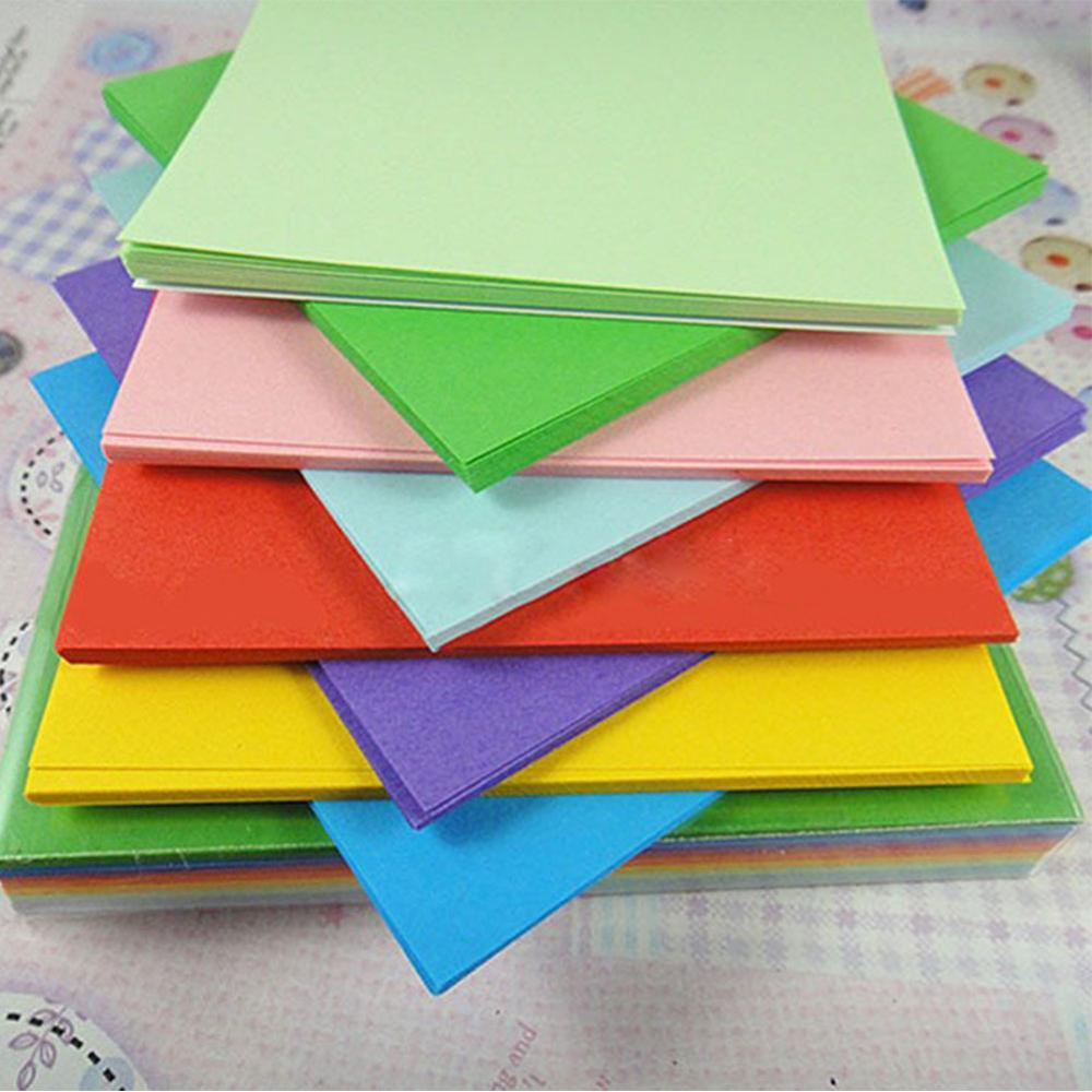 Double sided craft paper - 100pc 10cm Origami Square Paper Double Sided Coloured Craft Diy Colorful Scrapbooking New Handmade Paper Mix