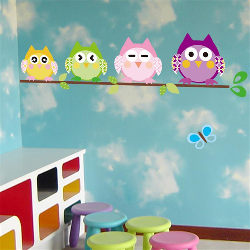 4 cute owls wall stickers kids room decoration animal adesivo de parede home decals cartoon mural art childrens gift