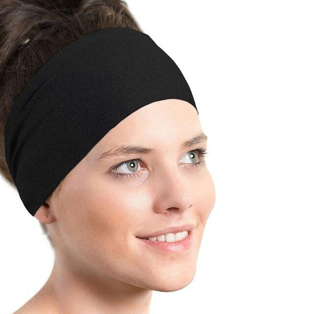 ChamsGend Ladies Sports Yoga Sweatband Solid Black Gym Stretch Headband  Hair Band Bandanas ring Elastic Hair Bands A1 c9daf1100b8
