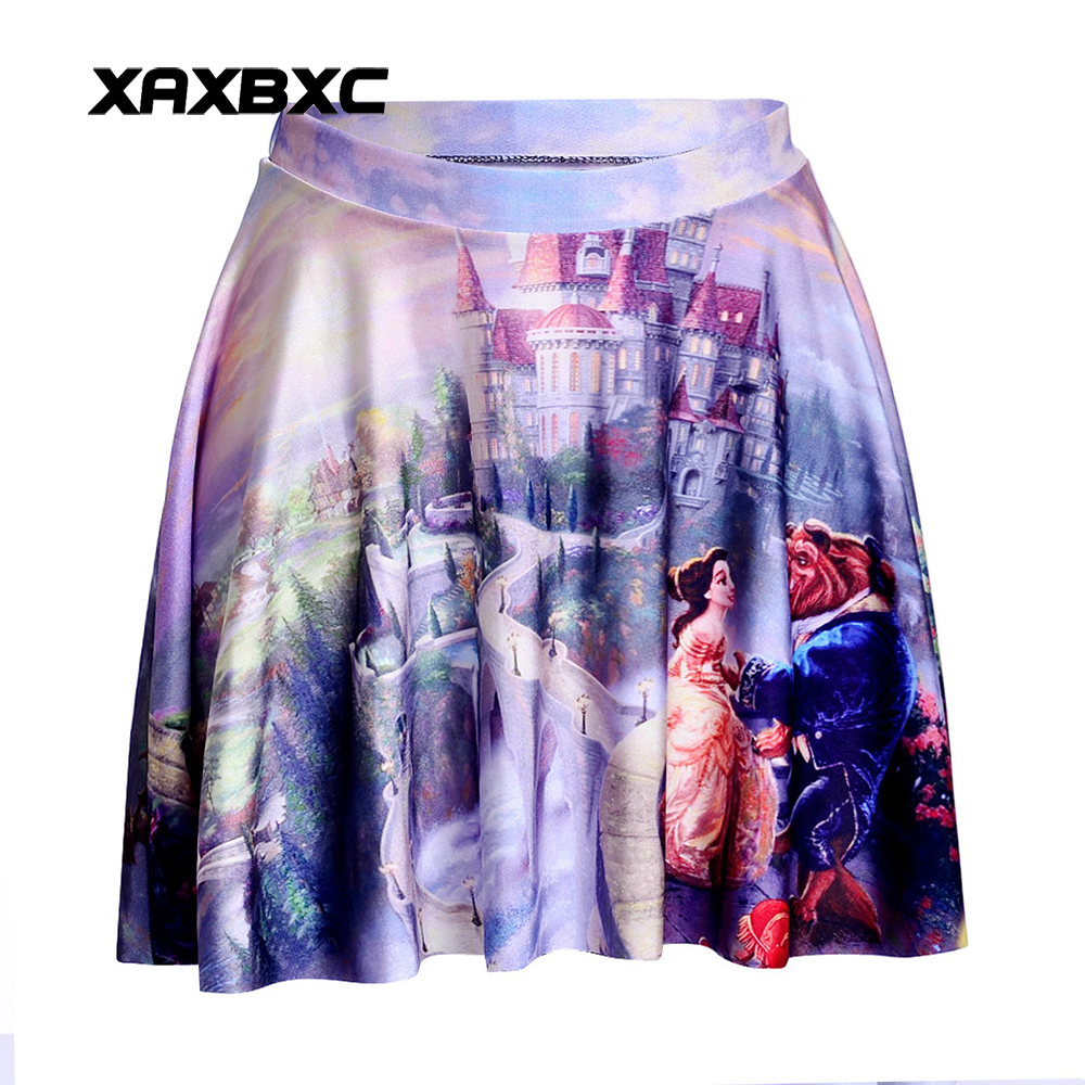 NEW 1112 Summer Sexy Girl Cartoon Beauty and the Beast Printed Cheering Squad Tutu Skater Women Mini Pleated Skirt Plus Size
