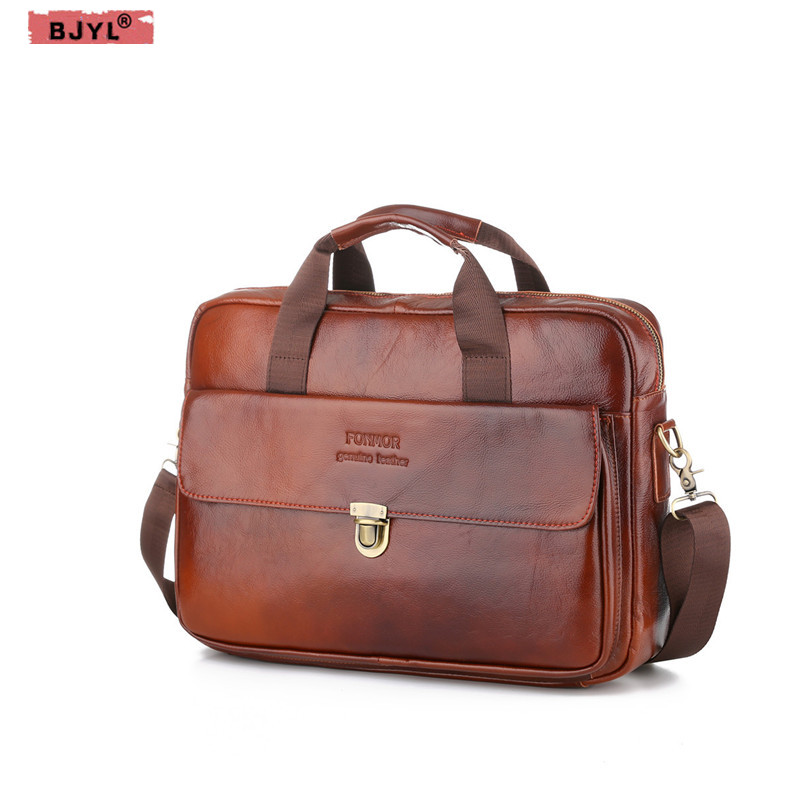 BJYL Men 14 Laptop briefcase Oil wax Genuine Leather cross-section Handbags large capacity buckle shoulder messenger BagsBJYL Men 14 Laptop briefcase Oil wax Genuine Leather cross-section Handbags large capacity buckle shoulder messenger Bags
