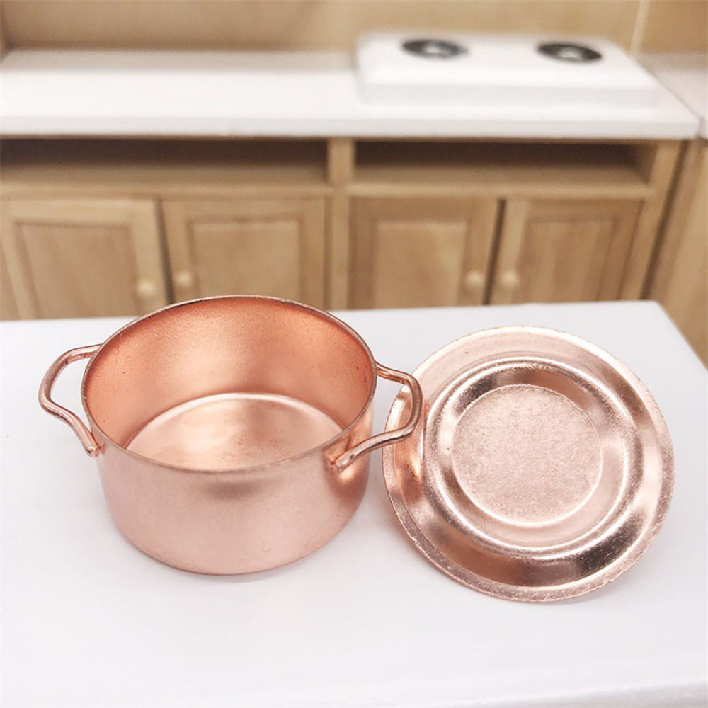 Copper Cooking Pan Pot 1/12 Dollhouse Simulation Miniature Kitchen Cookware Accessor DIY Doll House Decor Kids Toys A515