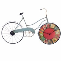 Retro Style Creative Bicycle Wall Clock, Wall Decoration Wrought Iron Personalized Silent Clock