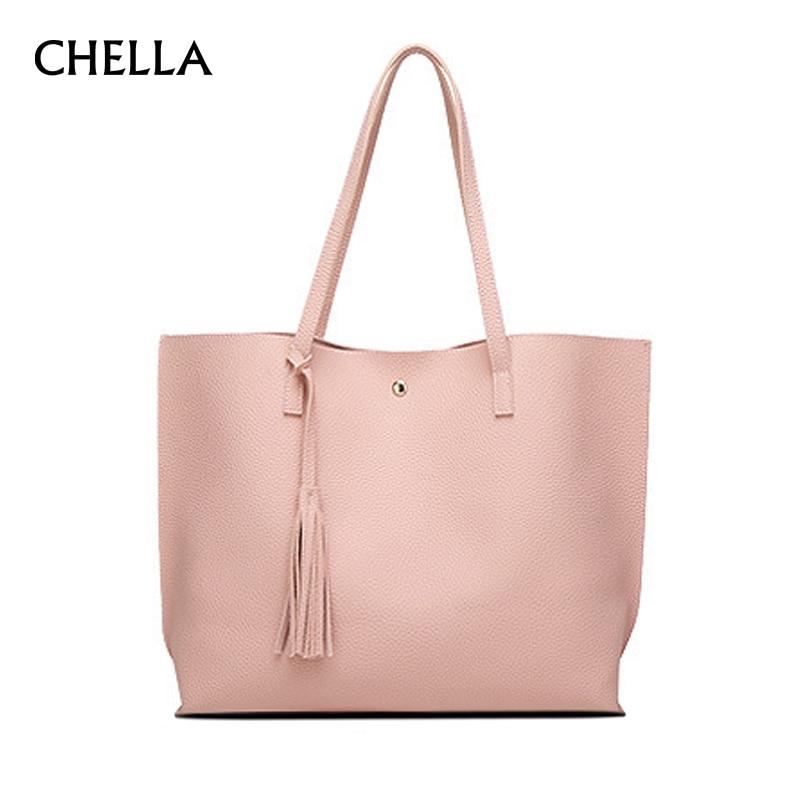 Women Handbag PU Leather Fashion Female Casual Tote Solid Big Tassel Design Ladies Shopping Bags Girls Travel Bolsa SS0346
