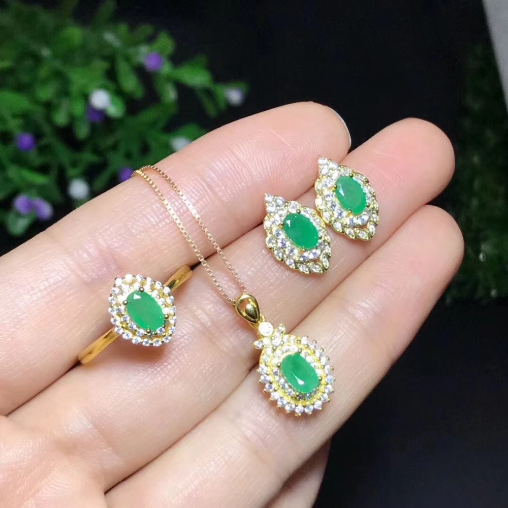 Natural and Real Emerald jewelry set Natural Real Emerald 925 sterling silver 1pc pendant,1pc ring ,2pcs Earring