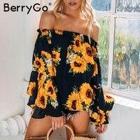 BerryGo Bohemian Off Shoulder Floral Print Blouse Shirt Ruffle Long Flare Sleeve Beach Summer Blouse Women