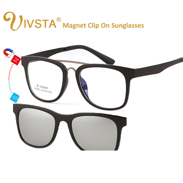 ba7649df58 IVSTA ULTEM Magnet Sunglasses Clip On Glasses Men Women Polarized Lenses  Optical Frame Magnetic Clips Prescription Oversized Big