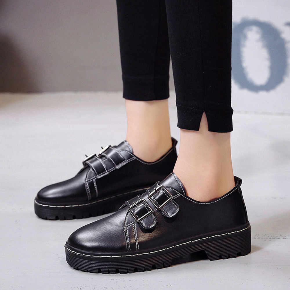 MUQGEW Womens Round Toe Single Shoes Martin Boots Belt Buckle Black Leather  Shoes Dropship 23f256ac1ab1