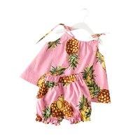 Summer Toddler Girls Camisole Sets Fashion Child Girl Pineapple Printed Set Little Girl Vest Style Toddler