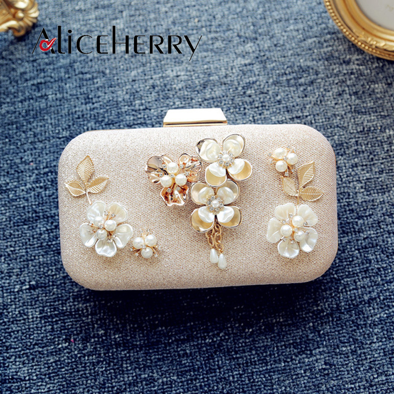 Evening Pearl Clutch Bag 2017 Women Bag Purses China Handbags Wedding Wallets Champagne Bolsa Flower Clutches with Pearl Chain