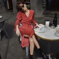 Sexy Red Holiday women summer midi dress France Split summer Dress Like Silk Smooth Flare Wrap vestidos