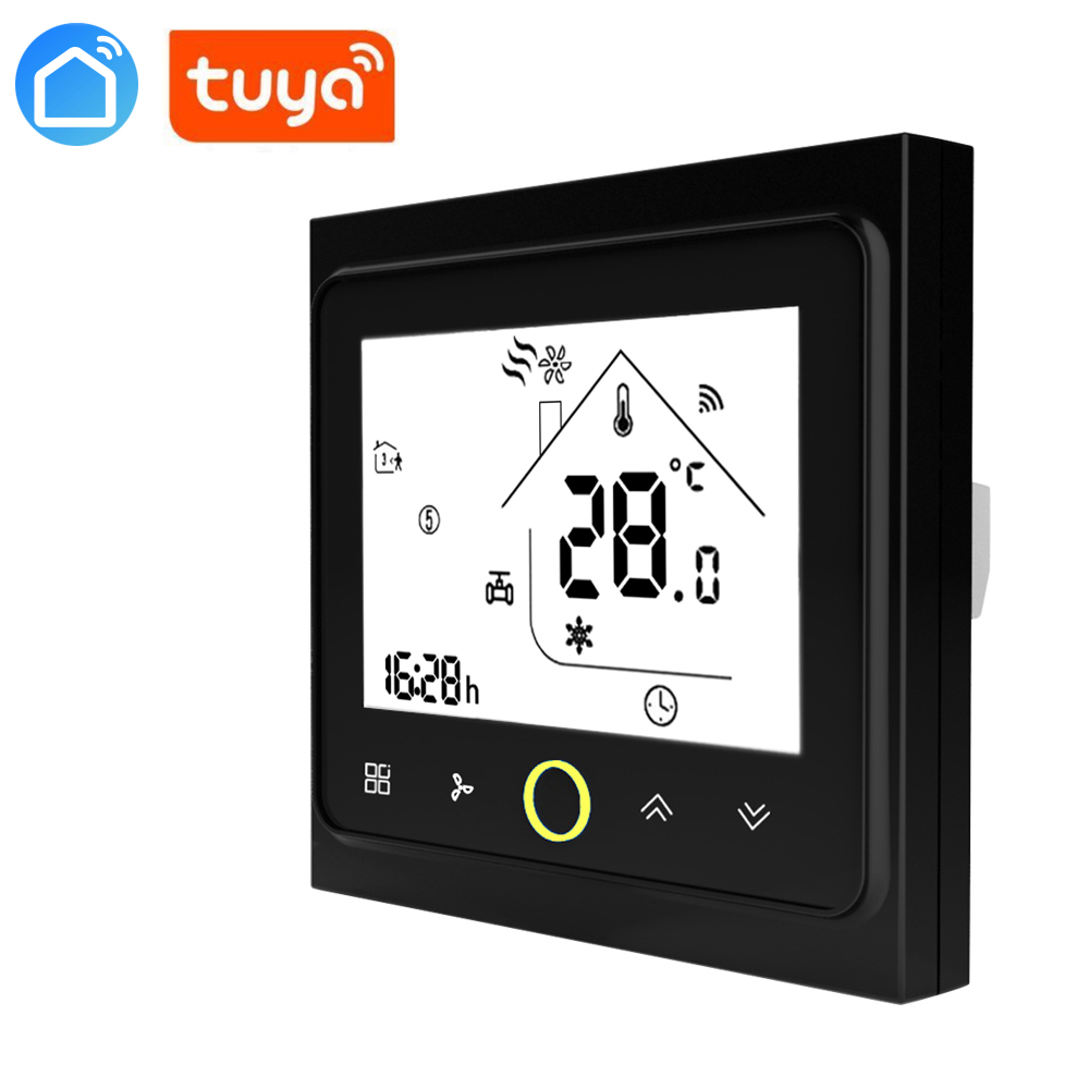 Tuya Alexa ECHO Programmable WiFi Central Air Conditioner Thermostat Temperature Controller 2 Pipe 4 Pipe 3 Speed Fan Coil Unit