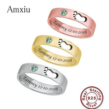 Amxiu Personalized 925 Sterling Silver Rings For Women Mother Gifts Custom Baby's Name Birthday with Birthstone Ring DIY Jewelry 925 sterling silver ring for women custom mother ring personalized birthstone ring anniversary gift fine jewelry lam hub fong