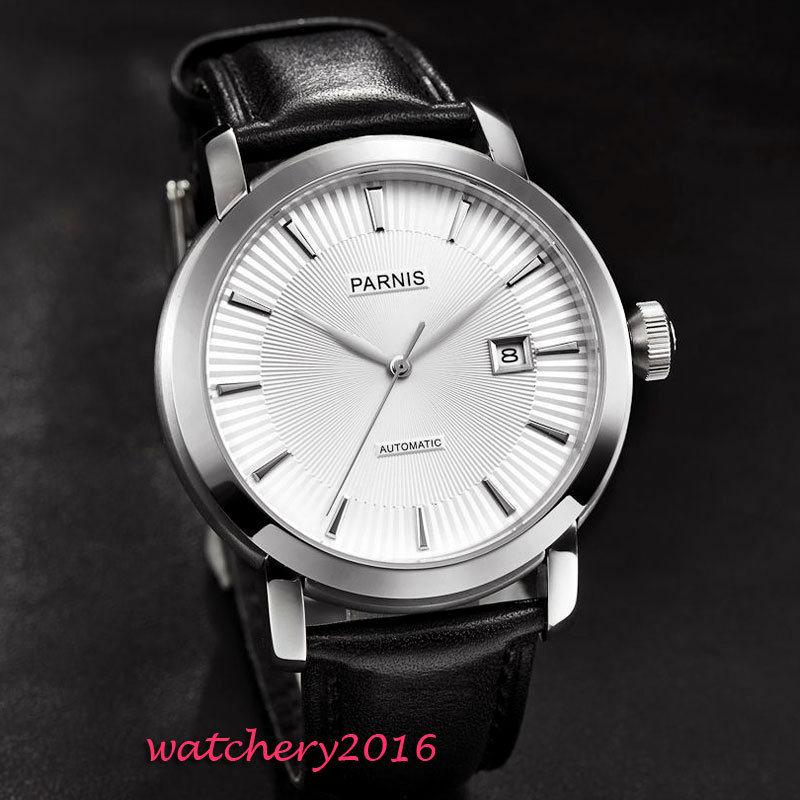 41mm Parnis White dial polished bezel Black Leather SS case date Sapphire Glass miyota Automatic Mechanical Men's business Watch цена