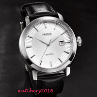 41mm Parnis White dial polished bezel Black Leather SS case date Sapphire Glass miyota Automatic Mechanical Men's business Watch