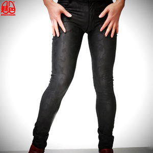 Image 2 - Plus Size PU Faux Leather Slim Pencil Pants Mens Cowboy Style Tight Trousers Jogger Camouflage Military Male Gay Erotic Legging