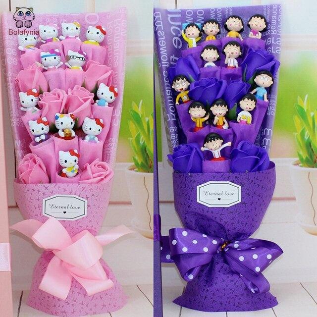 Bolafynia Chibi Maruko Chan Doraemon Hellokitty Kartun Bunga Sabun Mainan  Bouquet untuk Ulang Tahun Valentine Ulang d69f00e521