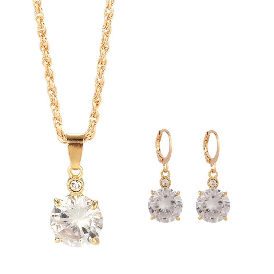Party etc Necklace Jewelry Earring Home Oudoor Lobster Buckle Rhinestone Water Drop Sets Women Clasp Wedding Claw Shape Casual
