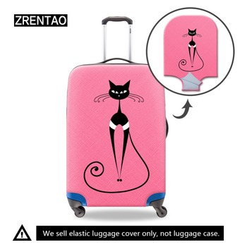 цена на ZRENTAO elastic cartoon cat suitcase cover ladies dirt-proof luggage cover personalized cover for traveling case with zipper