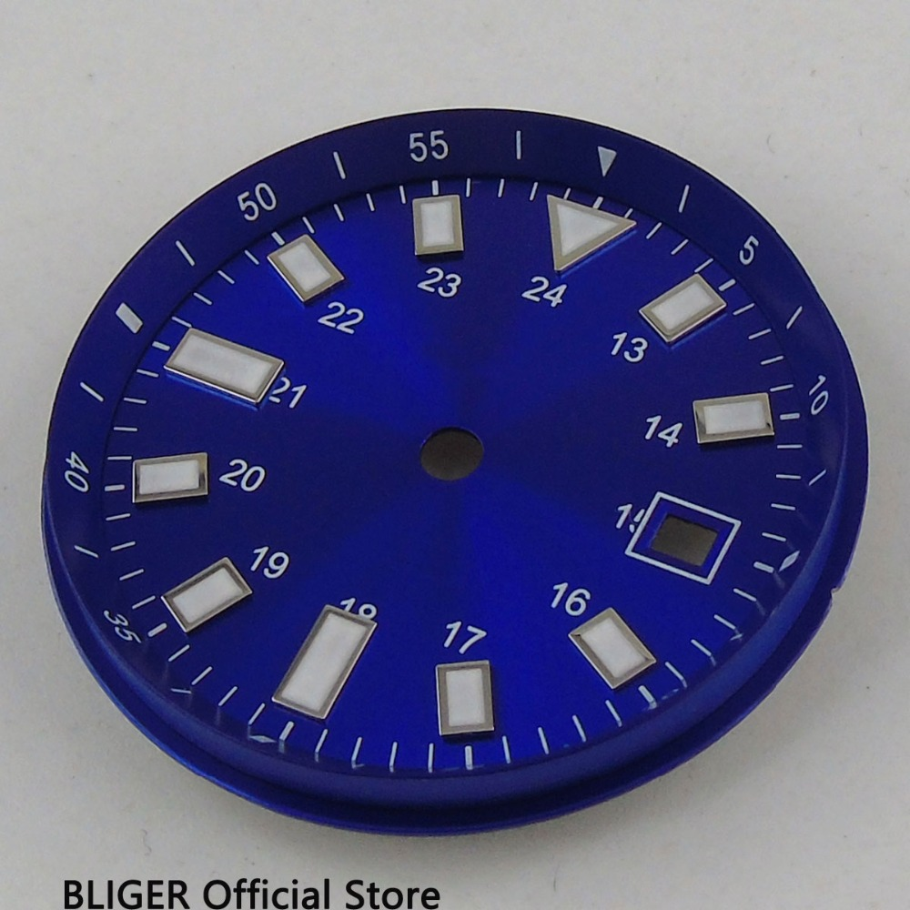 33MM Date Window Blue Dial White Marks Luminous Numerals Watch Dial Fit For ETA 2824 2836 MIYOTA 82 Series Automatic Movement