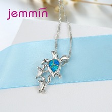 Turtle Blue Fire Opal Pendants Necklaces