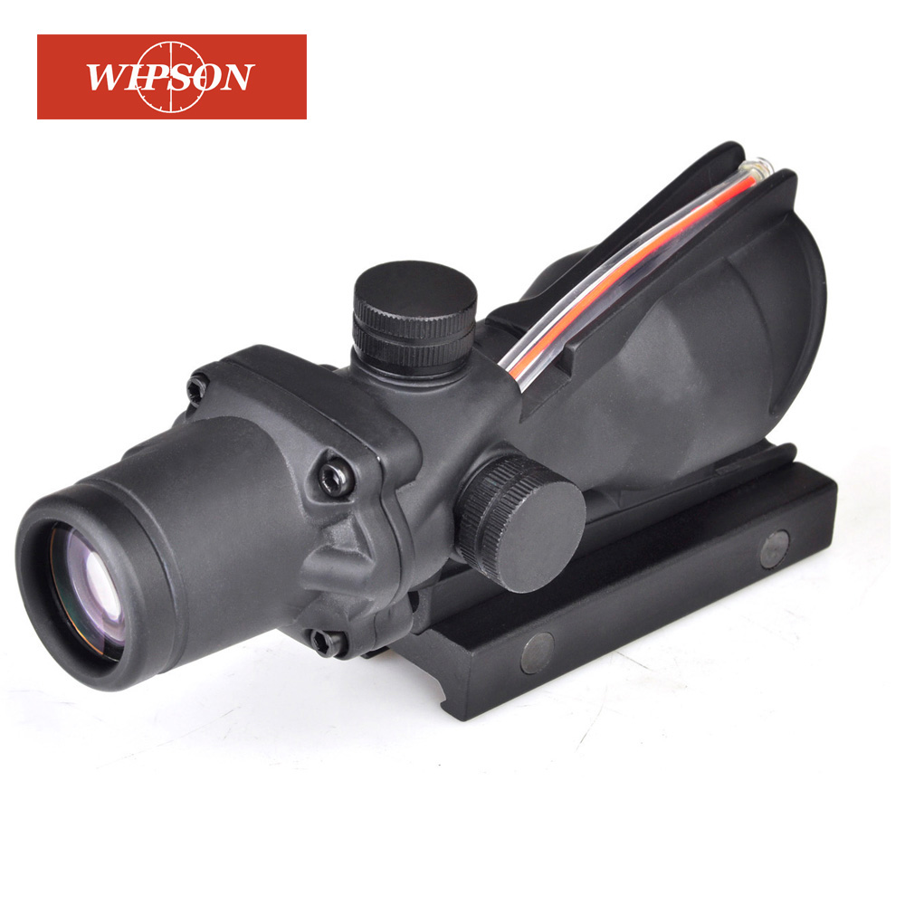 WIPSON Hunting Tactical Enhanced Edition .308 4X32 ACOG Scope Fiber Source Red&Green Illuminated Scope for AR 15 Rifle Scope image