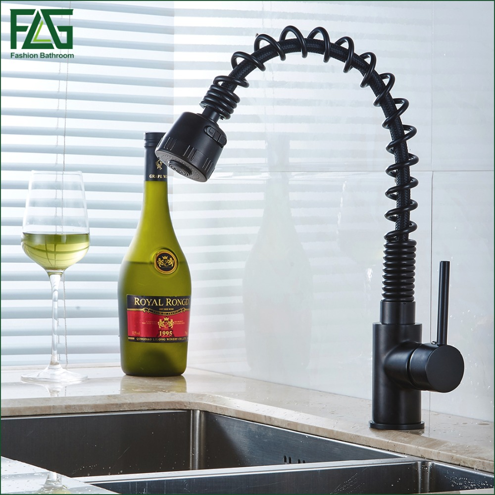 FLG Kitchen Faucet Pull Out All Around Rotate Swivel 2-Function Water Outlet Black Taps Kitchen Sink Mixer,Free Shipping 8052B flg free shipping pull out spray gold kitchen faucet hot and cold vegetables basin rotating taps all copper water mixer c003g