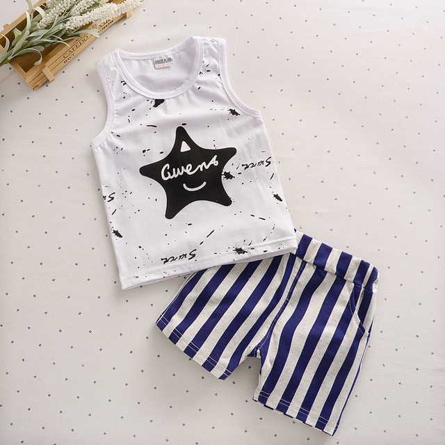 b71c69677 Summer Boy Pajamas Five Angle Star Vest Sleeper Suit Printed Pure ...