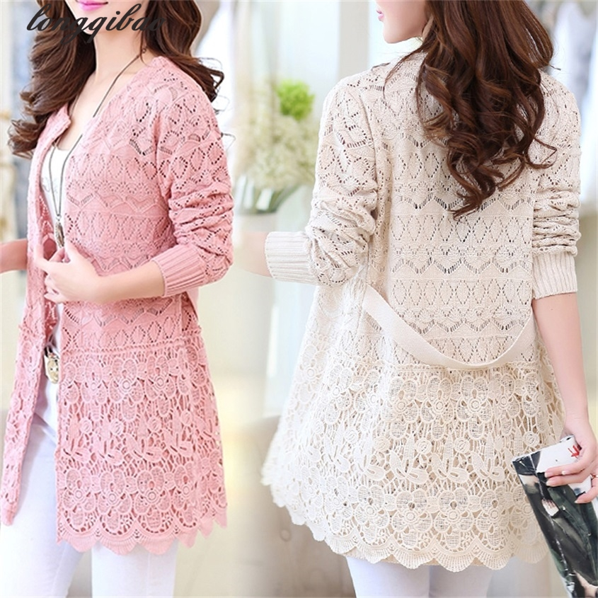 Spring and Autumn new women s large yards loose in the long section of embroidered hollow knit thin cardigan windbreaker TB61