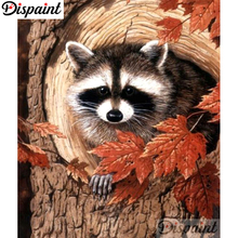 Dispaint Full Square/Round Drill 5D DIY Diamond Painting Animal raccoon scenery Embroidery Cross Stitch Home Decor A10514