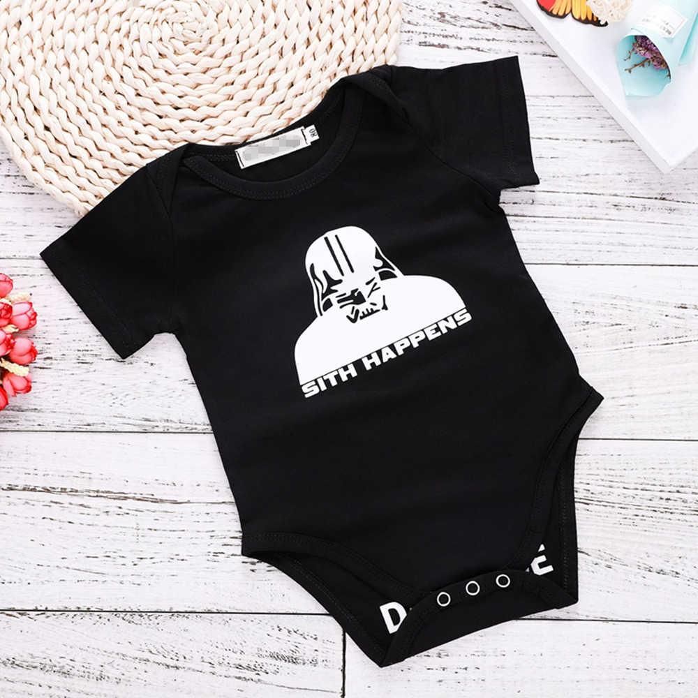 2018 Летний комбинезон для новорожденной девочки, черный Детский боди с надписью «Добро пожаловать», боди для малышей, Одежда для новорожденных, боди с короткими рукавами для детей