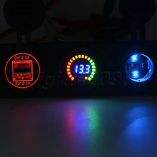 hot deal buy yetaha usb socket splitter motor car dc digital voltmeter 12v car electronics cigarette lighter 3 hole panel power dual usb