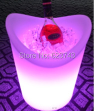 Color changeable Champagne Ice Bucket LED Multicolor waterproof LED ice bucket remote controller + Adapter color changeable led drink illuminated sphere flower pot waterproof led light ellipse champagne bucket cooler planter