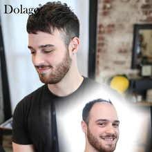 """Мужской парик 7X1"""" швейцарский кружевной центр с поли вокруг волос заменить мужчин t система для мужчин Dolago 1B цвет шелковая основа волос"""