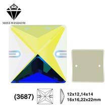 12 mm / 14 mm / 16 mm / 22 mm 2018 Nuevo producto de alta calidad de vidrio plano doble agujero cosido diamantes de imitación Hexagon AB color diy accesorios