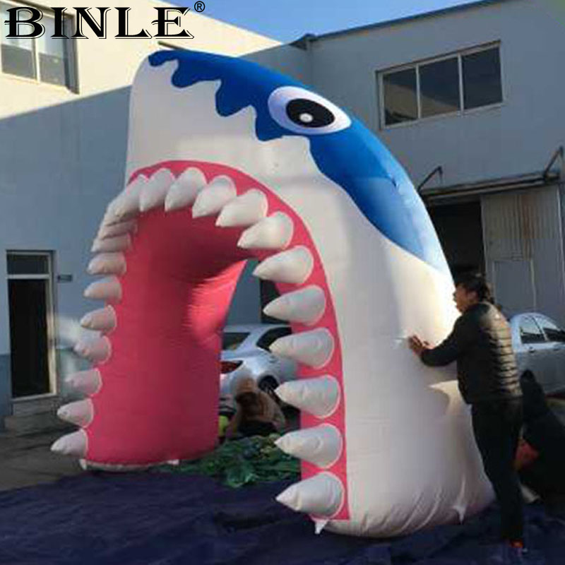 Free shipping 5x4mH Giant Inflatable Shark arch large shark mouth cartoon balloon shark entrance tunnel for event decoration customized 3 meters long giant inflatable shark high quality decorative blow up shark replica for sale toys